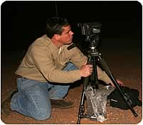 Sampling bats using infra-red camera at a mine shaft on the Army National Guard Training Area in Buckeye, Arizona. (B. Taubert)
